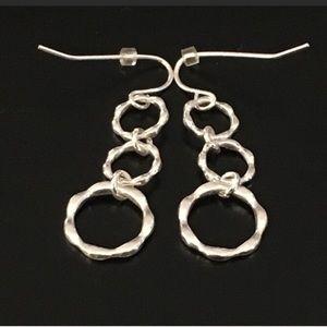 Hammered Linked Hoops Dangling Earrings